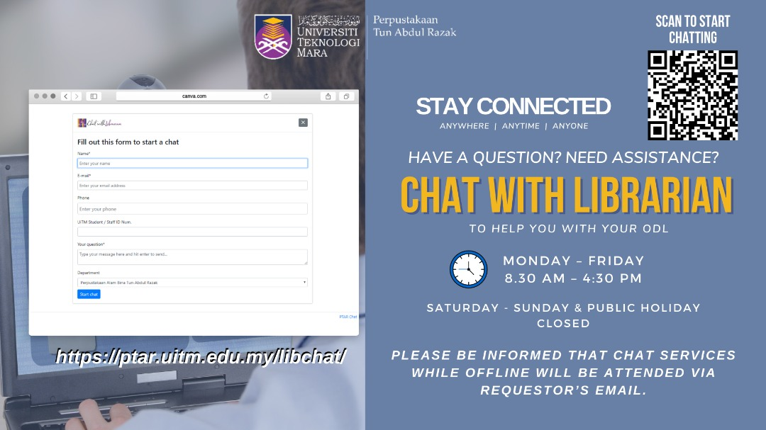 STAY CONNECTED - CHAT WITH LIBRARIAN TO HELP YOU WITH YOUR OPEN AND DISTANCE LEARNING (ODL)