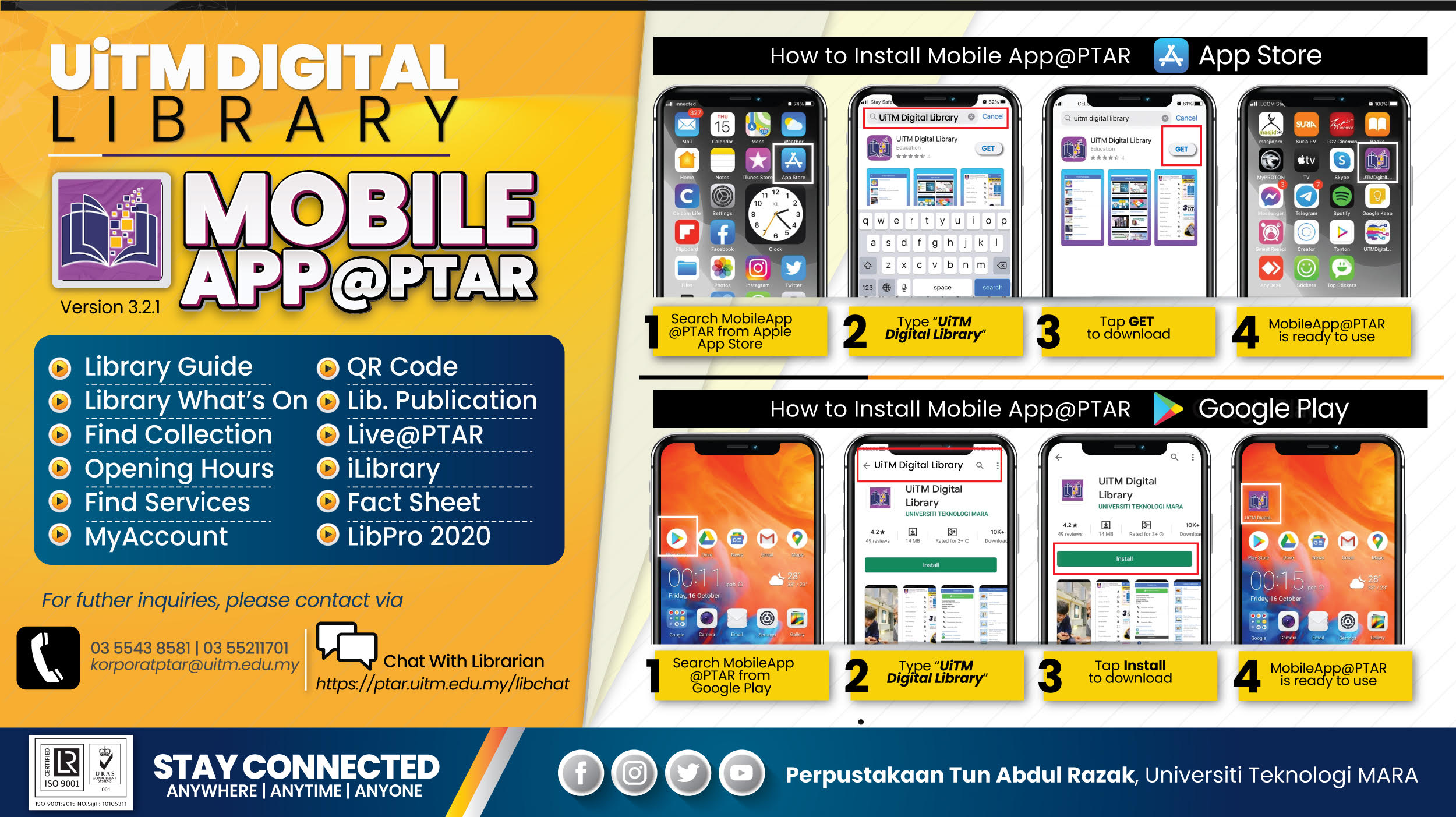 STAY CONNECTED: UiTM Digital Library - Mobile App@PTAR
