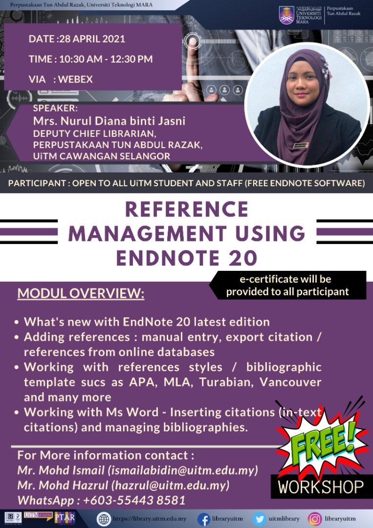 Webinar Series: Reference Management using EndNote 20